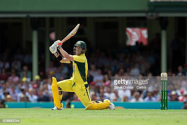 David Warner of Australia batting against India on his way to his century in the One Day International between Australia and India at the Sydney...