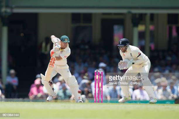 David Warner of Australia batting during day two of the Fifth Test match in the 2017/18 Ashes Series between Australia and England at Sydney Cricket...