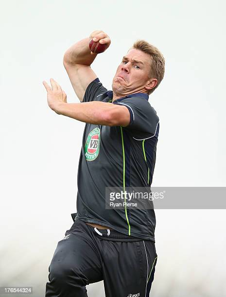 David Warner of Australia bowls during an Australian Nets Session at The County Ground on August 15 2013 in Northampton England