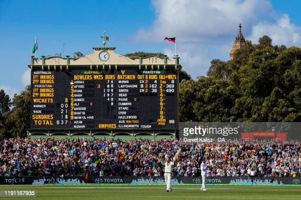 David Warner of Australia celebrates after reaching 300 runs in an innings during day 2 at Adelaide Oval on November 30, 2019 in Adelaide, Australia.