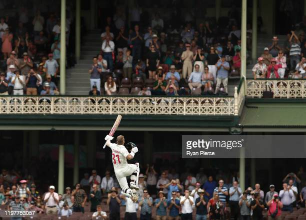 David Warner of Australia celebrates after reaching his century during day four of the Third Test Match in the series between Australia and New...