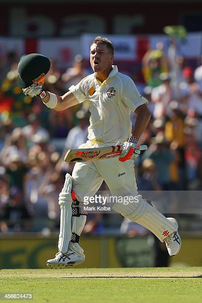 David Warner of Australia celebrates after reaching his century during day three of the Third Ashes Test Match between Australia and England at WACA...