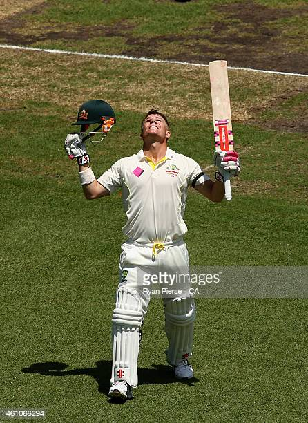 David Warner of Australia celebrates after reaching his century during day one of the Fourth Test match between Australia and India at Sydney Cricket...