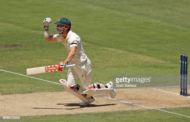 David Warner of Australia celebrates after reaching his century during day one of the Fourth Test Match in the 2017/18 Ashes series between Australia...
