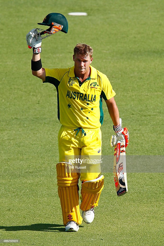 David Warner of Australia celebrates after reaching his century during the 2015 ICC Cricket World match between Australia and Afghanistan at WACA on March 4, 2015 in Perth, Australia.