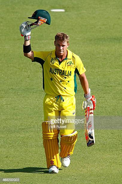 David Warner of Australia celebrates after reaching his century during the 2015 ICC Cricket World match between Australia and Afghanistan at WACA on...