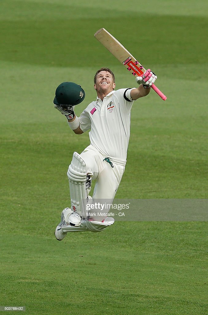 David Warner of Australia celebrates after scoring a century during day five of the third Test match between Australia and the West Indies at Sydney Cricket Ground on January 7, 2016 in Sydney, Australia.