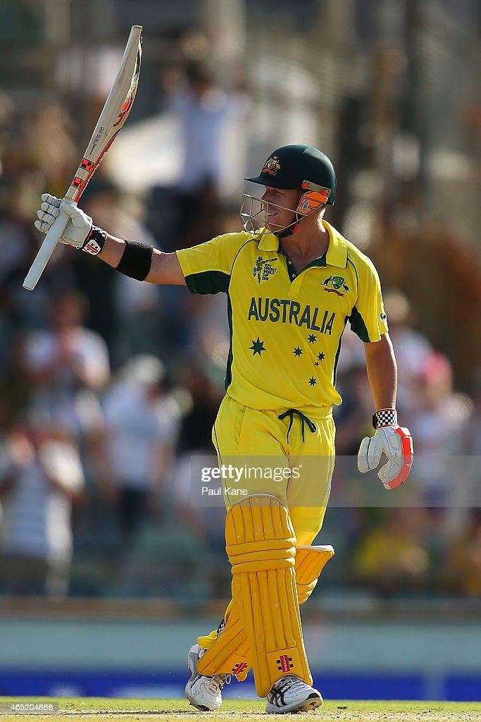 David Warner of Australia celebrates after scoring his 150 during the 2015 ICC Cricket World Cup match between Australia and Afghanistan at WACA on March 4, 2015 in Perth, Australia.