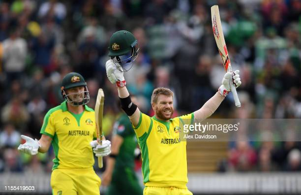 David Warner of Australia celebrates his century during the Group Stage match of the ICC Cricket World Cup 2019 between Australia and Pakistan at The...