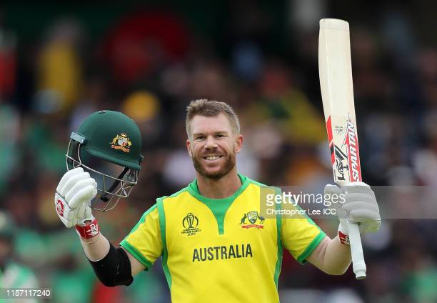 David Warner of Australia celebrates his century during the Group Stage match of the ICC Cricket World Cup 2019 between Australia and Bangladesh at...