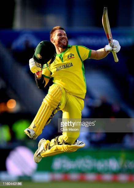 David Warner of Australia celebrates his century during the Group Stage match of the ICC Cricket World Cup 2019 between Australia and South Africa at...