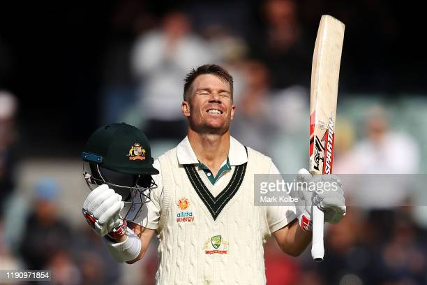 David Warner of Australia celebrates his triple century during day two of the 2nd Domain Test between Australia and Pakistan at the Adelaide Oval on...