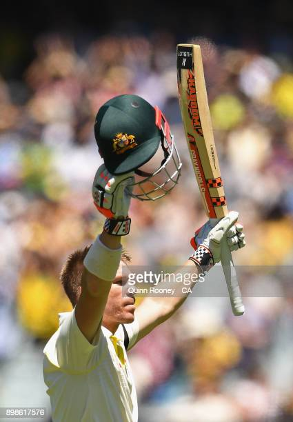 David Warner of Australia celebrates making a century during day one of the Fourth Test Match in the 2017/18 Ashes series between Australia and...