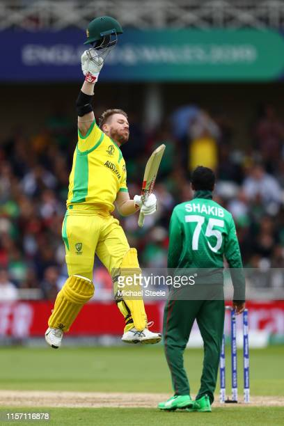 David Warner of Australia celebrates reaching his century during the Group Stage match of the ICC Cricket World Cup 2019 between Australia and...