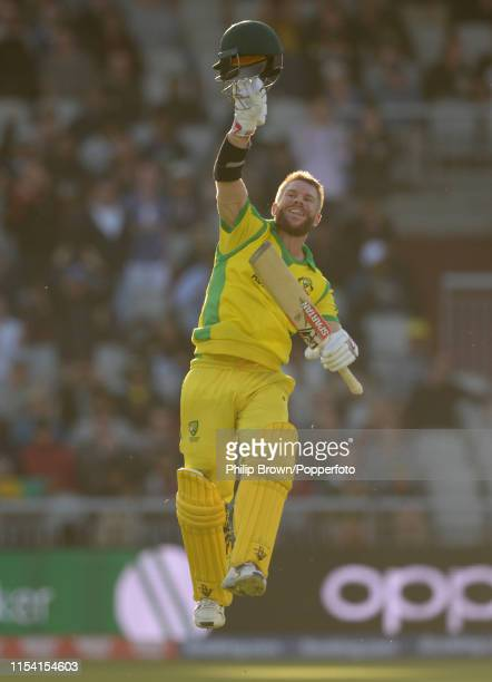 David Warner of Australia celebrates reaching hs century during the ICC Cricket World Cup Group Match between Australia and South Africa at Old...