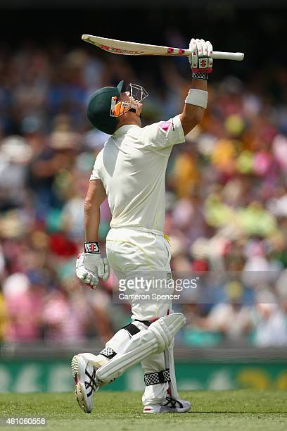 David Warner of Australia celebrates scoring fifty runs during day one of the Fourth Test match between Australia and India at Sydney Cricket Ground...