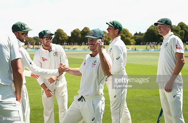 David Warner of Australia celebrates victory during day five of the Test match between New Zealand and Australia at Hagley Oval on February 24 2016...