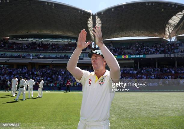 David Warner of Australia celebrates victory during day five of the Second Test match during the 2017/18 Ashes Series between Australia and England...