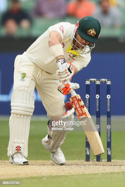 David Warner of Australia digs out a yorker from Chris Woakes of England during day four of the Fourth Test Match in the 2017/18 Ashes series between...
