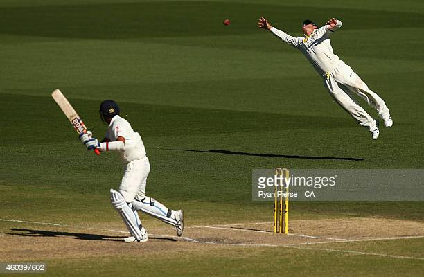 David Warner of Australia dives for the ball during day five of the First Test match between Australia and India at Adelaide Oval on December 13,...