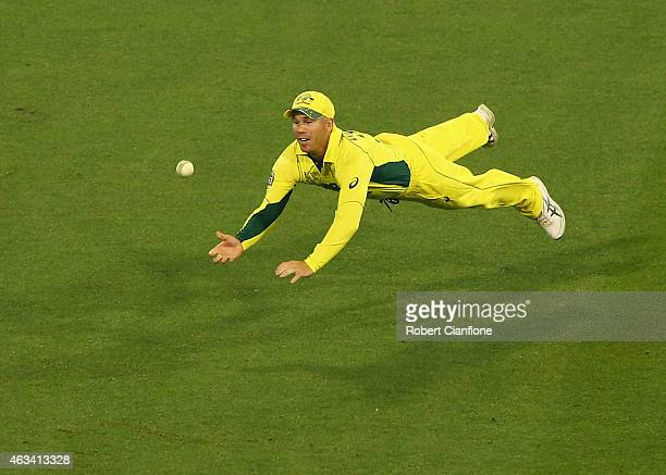 David Warner of Australia dives in an attempt to catch out James Anderson of England during the 2015 ICC Cricket World Cup match between England and...