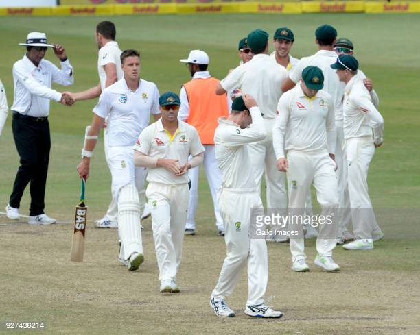 David Warner of Australia during day 5 of the 1st Sunfoil Test match between South Africa and Australia at Sahara Stadium Kingsmead on March 05 2018...