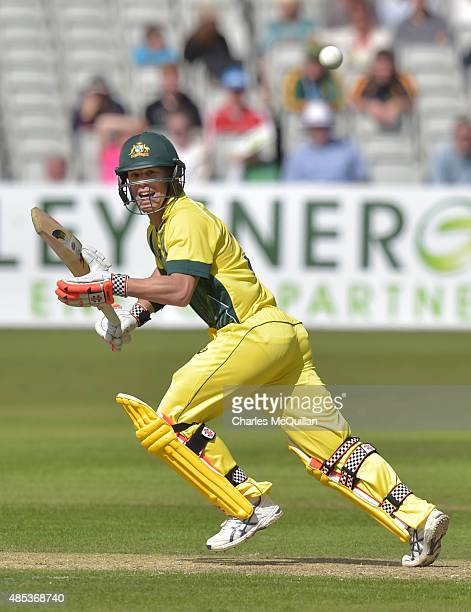 David Warner of Australia during the ODI cricket game between Ireland and Australia at Stormont cricket ground on August 27 2015 in Belfast Northern...