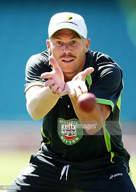 David Warner of Australia fields during an Australian fielding session at Sydney Cricket Ground on January 4, 2015 in Sydney, Australia.