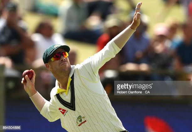 David Warner of Australia fields during day five of the Third Test match during the 2017/18 Ashes Series between Australia and England at the WACA on...