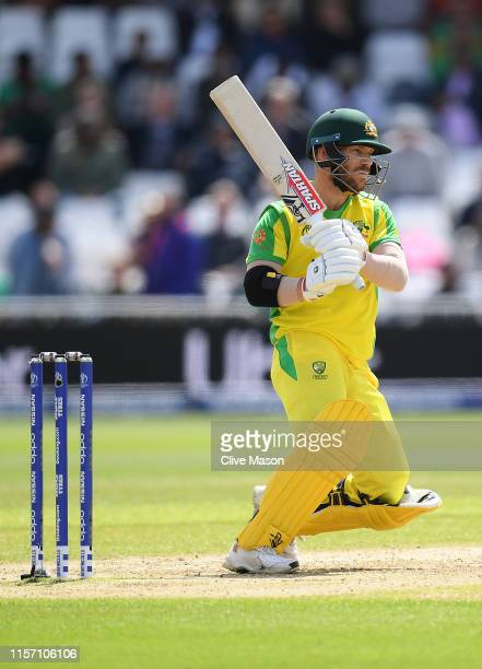 David Warner of Australia in action batting during the Group Stage match of the ICC Cricket World Cup 2019 between Australia and Bangladesh at Trent...