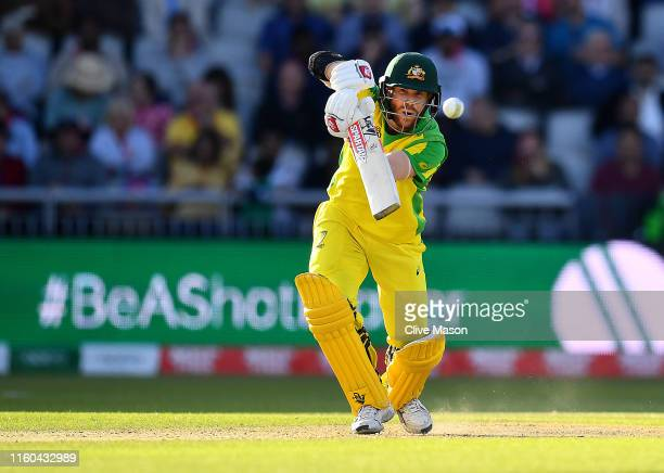David Warner of Australia in action batting during the Group Stage match of the ICC Cricket World Cup 2019 between Australia and South Africa at Old...