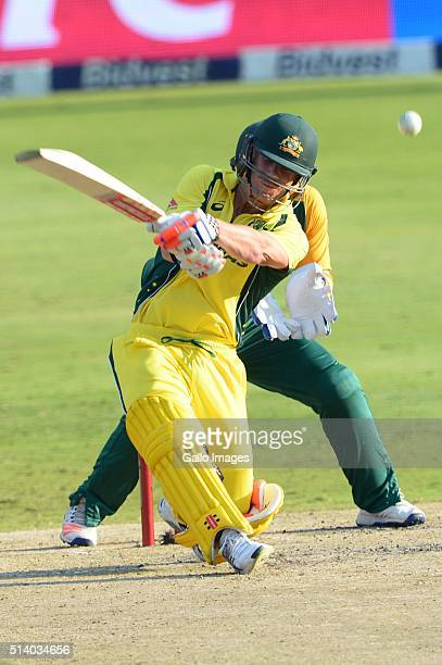 David Warner of Australia in action during the 2nd KFC T20 International match between South Africa and Australia at Bidvest Wanderers Stadium on...