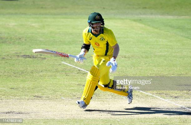 David Warner of Australia in action during the Cricket World Cup One Day Practice Match between Australia and New Zealand at Allan Border Field on...
