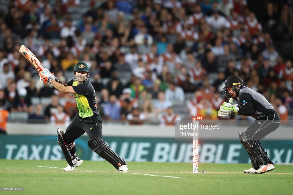 David Warner of Australia is bowled by Ish Sodhi of New Zealand during the International Twenty20 Tri Series Final match between New Zealand and Australia at Eden Park on February 21, 2018 in Auckland, New Zealand.