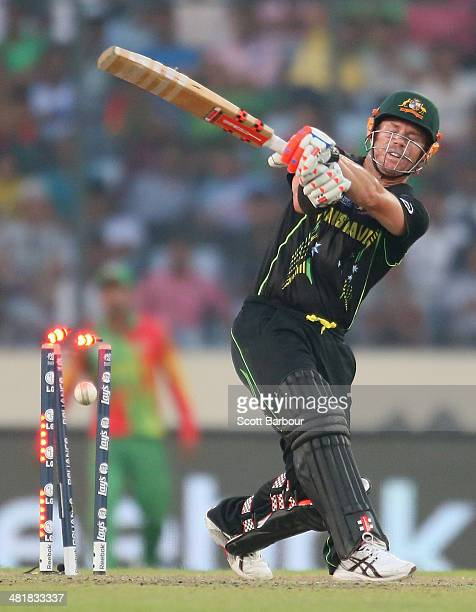 David Warner of Australia is out bowled during the ICC World Twenty20 Bangladesh 2014 match between Bangladesh and Australia at ShereBangla Mirpur...