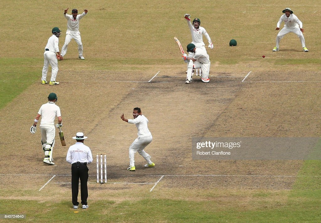David Warner of Australia is out LBW to Shakib Al Hasan of Bangladesh during day four of the First Test match between Bangladesh and Australia at Shere Bangla National Stadium on August 30, 2017 in Mirpur, Bangladesh.