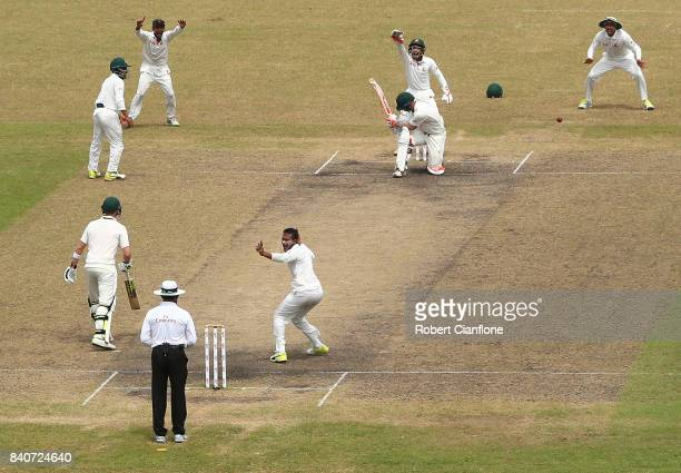 David Warner of Australia is out LBW to Shakib Al Hasan of Bangladesh during day four of the First Test match between Bangladesh and Australia at...