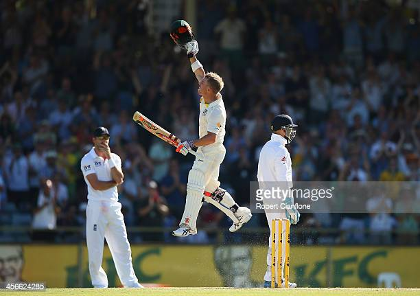 David Warner of Australia leaps after he scored his century during day three of the Third Ashes Test Match between Australia and England at WACA on...