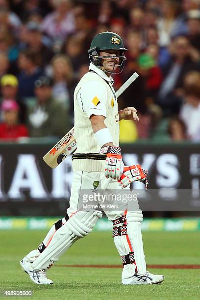 David Warner of Australia leaves the field after getting out to Trent Boult of New Zealand during day one of the Third Test match between Australia...