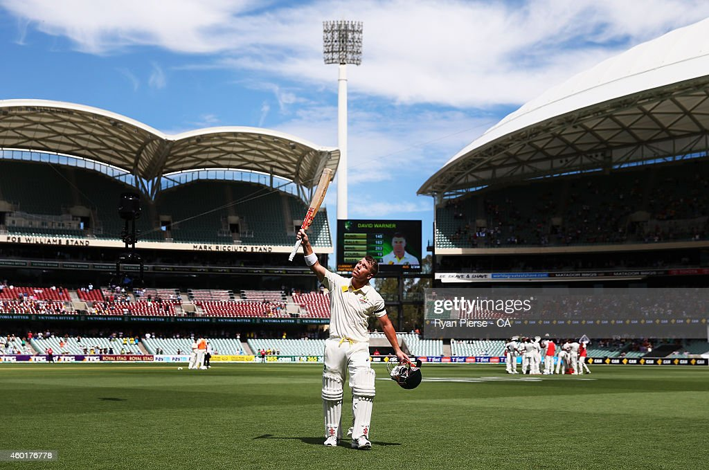 David Warner of Australia leaves the ground after being dismissed for 145 runs during day one of the First Test match between Australia and India at Adelaide Oval on December 9, 2014 in Adelaide, Australia.