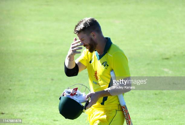David Warner of Australia looks dejected after being dismissed during the Cricket World Cup One Day Practice Match between Australia and New Zealand...