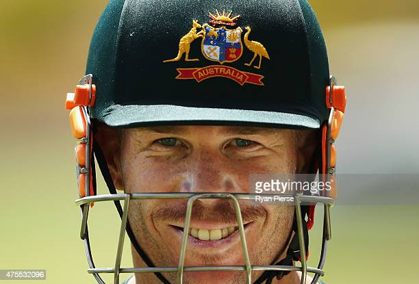 David Warner of Australia looks on during an Australian nets session at Windsor Park on June 1 2015 in Roseau Dominica