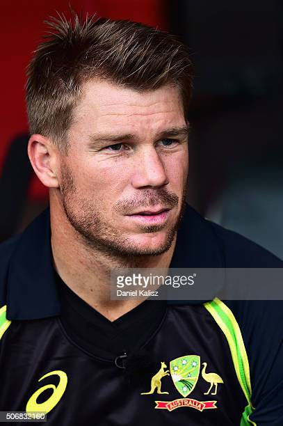 David Warner of Australia looks on prior to game one of the Twenty20 International match between Australia and India at Adelaide Oval on January 26...