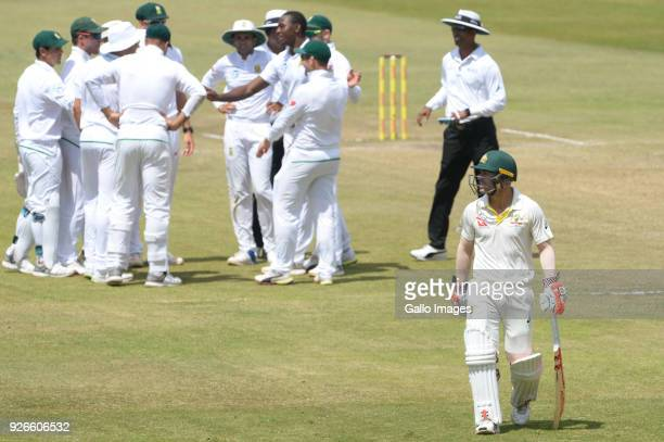 David Warner of Australia out for 28 runs during day 3 of the 1st Sunfoil Test match between South Africa and Australia at Sahara Stadium Kingsmead...