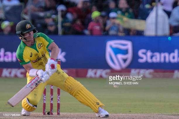 David Warner of Australia plays bats during the second T20 international cricket match between South Africa and Australia at the St George's Park...