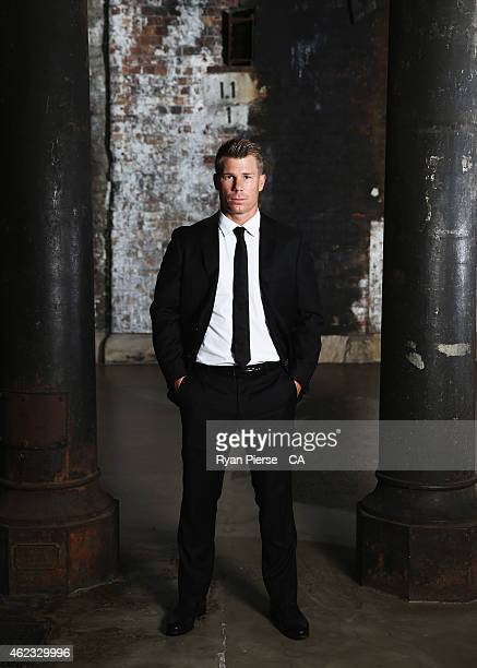 David Warner of Australia poses ahead of the 2015 Allan Border Medal at Carriageworks on January 27, 2015 in Sydney, Australia.