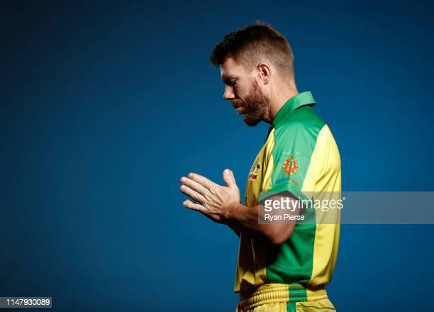 David Warner of Australia poses during an Australia ICC One Day World Cup Portrait Session on May 07, 2019 in Brisbane, Australia.