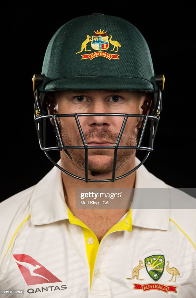 David Warner of Australia poses during the Australia Test cricket team portrait session at Intercontinental Double Bay on October 15, 2017 in Sydney, Australia.
