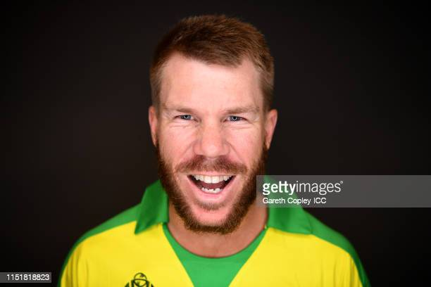 David Warner of Australia poses for a portrait prior to the ICC Cricket World Cup 2019 at on May 26 2019 in Southampton England