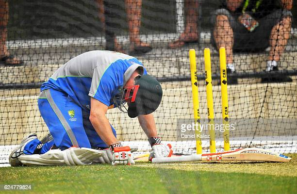 David Warner of Australia reacts after being struck by a delivery from Josh Hazlewood during an Australian nets session at Adelaide Oval on November...